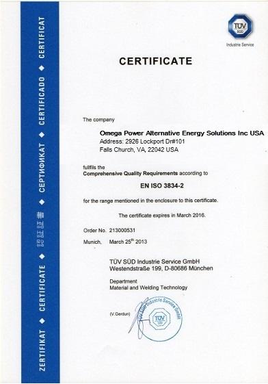 CertificateENISO3834-2